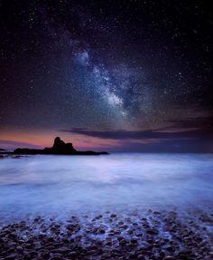Milky Way over Pomos, by Albena Markova..... #landscape #sea #rocks #cyprus #longexposure #seascapes #milkyway #clifs #pomos