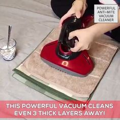 Powerful Anti-Mite Vacuum Cleaner This powerful vacuum cleans even 3 thick layers away! It has a powerful suction that no matter how thick your mattresses are, this heavy-duty cleaner can suck every mite and every dust in it. Cleaning Day, Spring Cleaning, Cleaning Hacks, Cleaning Products, Anti Mites, Wardrobe Storage, Carpet Cleaners, Dust Mites, Bathroom Ideas