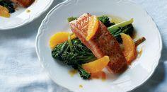 salmon with broccoli and orange sauce