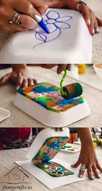 Styrofoam, like the stuff from take away containers or from the grocery store, can be used to make your own stamps.  (This site is in French.  I tracked the photo to http://www.funnycrafts.us/printmaking-ideas-for-kids/, but there are no further instructions there.  I guess they figured the pictures said it all.)