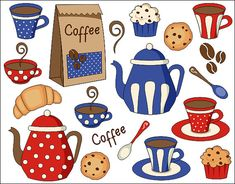 Coffee Time Red And Blue Digital Clip Art Set - Digital Clipart - Pot, Cup, Cookies, Cupcake - Instant Download