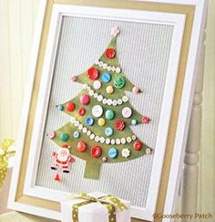 "Gooseberry Patch Framed Button Tree-complete directions on link  Steam iron  Paper-backed   fusible web  12"" x 14"" piece of   felted wool  Scissors  Frame with a 12"" x 16""   back opening  16"" x 20"" piece of fabric   for background  Assorted vintage buttons  12"" x 16"" piece of foam   core board  Craft glue  Vintage Christmas pin (we used a jumping-jack Santa)  Ribbon to decorate the frame (optional)"