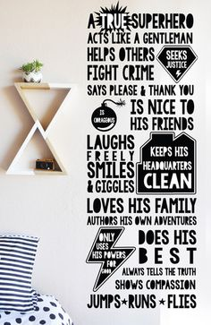 Super Hero Rules - WALL DECAL