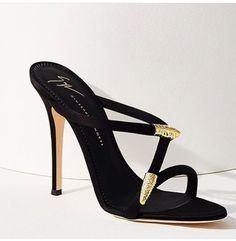 "Giuseppe Zanotti ""Aleesha"" serpentine black-satin open-toe high-heeled mule with crystal-embellished gold-tone snake-like accents | 2017 #giuseppezanottiheelsoutfit #giuseppezanottiheelsblack #giuseppezanottiheels2017"