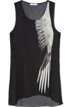 Helmut Lang|Wing-print silk top|NET-A-PORTER.COM - StyleSays