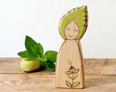 Mint Herb Elf  EcoFriendly kids toy  nature table by Rjabinnik