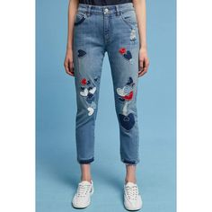 Pilcro Hyphen Mid-Rise Embroidered Boyfriend Jeans ($168) ❤ liked on Polyvore featuring jeans, denim medium blue, relaxed boyfriend jeans, pilcro, boyfriend jeans, relaxed jeans and blue boyfriend jeans