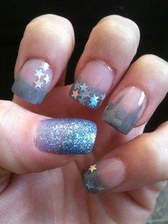 Stars On Grey by MandyVanderjack - Nail Art Gallery nailartgallery.nailsmag.com by Nails Magazine www.nailsmag.com #nailart