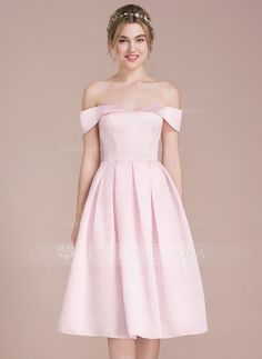 A-Line/Princess Off-the-Shoulder Knee-Length Zipper Up Regular Straps Sleeveless No Blushing Pink Spring Summer Fall Winter General Plus Satin Bridesmaid Dress