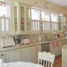 Romantic kitchen vintage interior/love this kitchen, all the windows, white cabinets lkk
