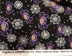 Frightful & Delightful Glow in the Dark Black Halloween Print/ Spiders and Webs/ Henry Glass Cotton Quilting Fabric By the Yard Halloween Fabric, Halloween Prints, Quilt Border, Trick Or Treat Bags, Cotton Quilting Fabric, Rug Making, Black Backgrounds, Accent Decor, The Darkest