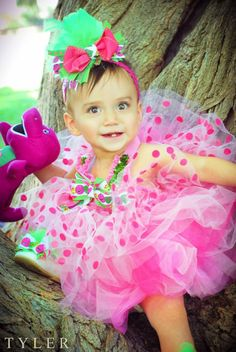 Baby Bella Is ONE  *Barney Birthday Outfit  *Barney Bow  *Barney Shoes  *Baby Bop Leo