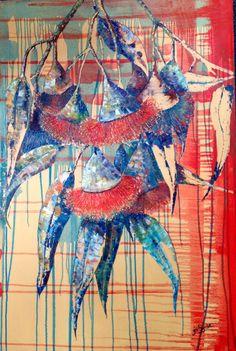 Gungurro red gum blossom oil painting