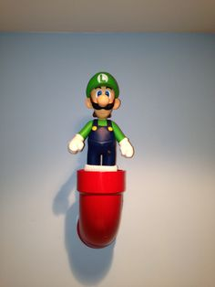 Mario Bros room decor. Cool idea with pvc pipe and a toy.