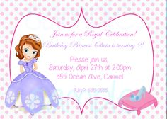 Sofia the first Princess Birthday Party Invitation digital file