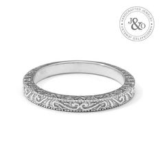 Scrolls Handmade White Gold Vintage Wedding Ring is a classic vintage style wedding band or anniversary ring. This band is beautifully hand