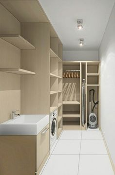 Imaginative Approach on Basement Laundry Makeover Projects Basement Laundry, Laundry Closet, Laundry Room Organization, Modern Laundry Rooms, Laundry Room Layouts, Modern Room, Küchen Design, House Design, Modern Design