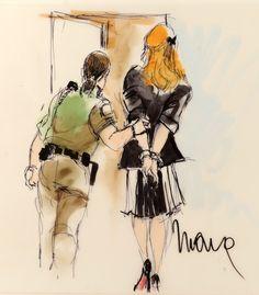 Courtroom sketch of Lindsay Lohan
