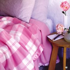 Pink plaid Merino wool blanket
