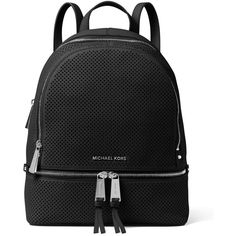 MICHAEL Michael Kors Rhea Medium Perforated Zip Backpack ($345) ❤ liked on Polyvore featuring bags, backpacks, backpack, black, logo bags, flat bags, rucksack bags, flat backpack and michael michael kors