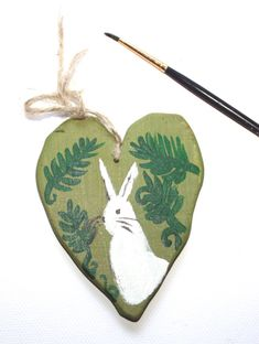 White Rabbit - Wooden Creature - Spirit Totem Animal- Rabbit- Hare - Autumn Nature - by Niina Niskanen EUR) by fairychamber Christmas Ornaments Sale, Handpainted Christmas Ornaments, Acrylic Artwork, Acrylic Paintings, Nursery Paintings, Nursery Art, Original Artwork, Original Paintings, Wooden Rabbit
