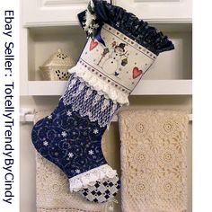 Cottage Christmas Stocking: Let It Snow - SOLD - I will be listing new stockings first week of Oct. 2014 in my Ebay Shop - totellytrendybycindy