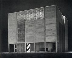 "Tadao Ando. GA Document. 7 1983: 71   ""The use of the hollow concrete blocks is limited to those parts of the building where they function as the screen between the void space inside and the open-air outside. They give its facade a thrilling association with the contrast between void and solid.""                                                                                                                                                                                 More"