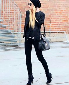 All black: shirt, leather jacket, skinny pants, ankle boots, satchel crossbody bag, belt, sunglasses, beanie, fall fashion, winter wear, style, fashion week, long blonde hair, street style