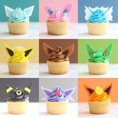 these adorable eeveelution cupcakes would be such a fun dessert to have at a pokemon birthday party! Pokemon Cupcakes, Pokemon Torte, Pikachu Cake, Pokemon Themed Party, Pokemon Birthday Cake, 9th Birthday, Evoluções Eevee, Festa Pokemon Go, Pokemon Craft