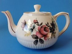 Vintage Ellgreave Ironstone Teapot Wood and Sons Floral Roses England Chocolate Pots, Tea Sets, China Dinnerware, Teapot, Tea Time, Sons, Whimsical, England, Pottery