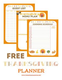 Free Thanksgiving Planner with 5 Printables to help keep you organized: Thanksgiving Guest List Planner, Thanksgiving Menu Planner, Thanksgiving Recipe List Planner, Thanksgiving Wednesday Prep List, and Thanksgiving Cooking Schedule Planner   www.foodfolksandfun.net