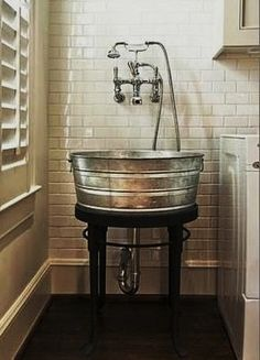 This would be the coolest laundry room sink. If I ever have a utility sink. Or a laundry room for that matter. House Design, New Homes, Laundry Room Sink, Sink, Laundry Mud Room, Wash Tubs, Home Hacks, Laundry Room, Home Decor