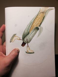 Corn skating on ice Drawing