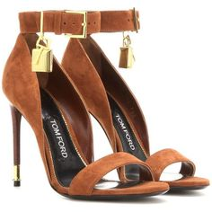 Tom Ford Embellished Suede Sandals ($1,165) ❤ liked on Polyvore featuring shoes, sandals, heels, high heels, sapatos, brown, brown suede sandals, heeled sandals, embellished sandals and brown high heel shoes