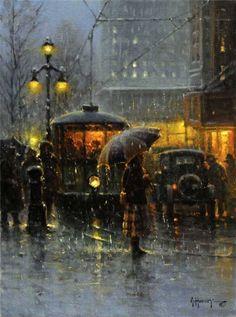 G Harvey b 1933 Trolley Stop New Orleans Walking In The Rain, Singing In The Rain, Rainy Night, Rainy Days, Rainy Mood, G Harvey, City Rain, I Love Rain, Parasols