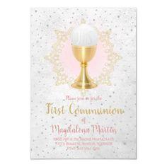 catholic girl first communion design invitation   Zazzle.com