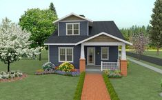 The best bungalow house floor plans. Find small 3 bedroom Craftsman style designs, modern open concept homes & more! Bungalow House Plans, Bungalow Homes, Craftsman Style House Plans, Small House Plans, Cottage Homes, House Floor Plans, Cabin Design, Tiny House Design, Prairie Style Houses