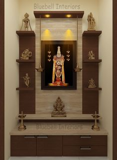 - TV Unit Models & Ideas - Italian marble cladding, wall shelves, two step unit, hanging deepam in pooja room Two steps pooja u. Pooja Room Design, Door Design, Room Design, Pooja Rooms, Temple Design For Home, Room Door Design, Cupboard Design, Pooja Room Door Design, Living Room Design Modern