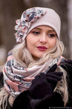 Шапки ручной работы. Ярмарка Мастеров - ручная работа. Купить Шапка и снуд из трикотажа. Handmade. Бежевый, шапка на заказ Baby Hats Knitting, Knitted Hats, Flapper Accessories, Crochet Leaf Patterns, Sewing Scarves, Types Of Hats, Look Fashion, Womens Fashion, Freeform Crochet