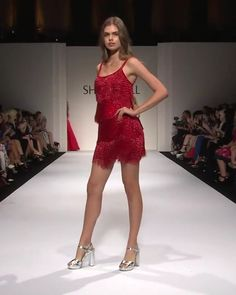 Beautiful Embellished Red Slip Evening Mini Dress / Short Dress with Spaghetti Straps. Runway Show by Sherri Hill - Sherri Hill Red Dress, Red Hoco Dress, Hoco Dresses, The Dress, Couture Fashion, Runway Fashion, Fashion Outfits, Cute Formal Dresses, Expensive Clothes