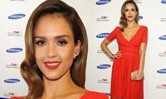 Jessica Alba steals the show in red frock at children's charity gala