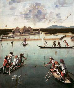 Carpaccio, Vittore - Hunting on the Lagoon (recto); Letter Rack (verso) - Google Art Project - Vittore Carpaccio - Wikipedia