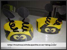 """.. Printemps .. """" chapeau abeille bizzz!! """" Insect Crafts, Bee Crafts, Preschool Crafts, Costume Coccinelle, Diy For Kids, Crafts For Kids, Bee Games, Bee Hat, Cardboard Costume"""