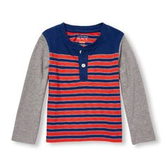 d65e1535a7 s Toddler Boys Long Sleeve Striped Henley - Orange - The Children s Place  Children s Place