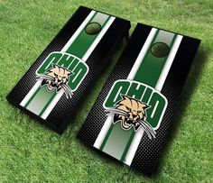 These racing striped NCAA Ohio Bobcats cornhole boards are great for displaying collegiate pride at tailgates, cookouts, and other outings. Includes...