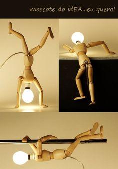 Wooden Artists' Manikin lamp - idea