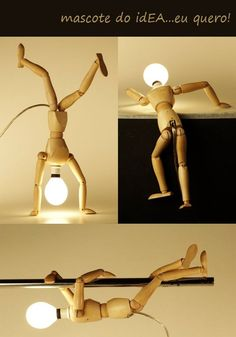 Wooden Artists' Manikin lamp - idea