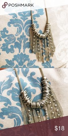 "Silver Tassel Necklace Silver tassel necklace. Maximum length approx 12"". Preowned Jewelry Necklaces"