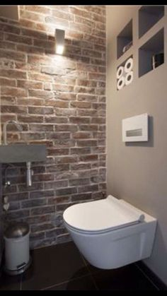 Space Saving Toilet Design for Small Bathroom - Home to Z Space Saving Toilet, Small Toilet Room, Guest Toilet, Downstairs Toilet, Basement Bathroom, Design Wc, House Design, Villa Design, Design Hotel