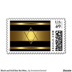 Black and Gold Bar Bat Mitzvah Postage